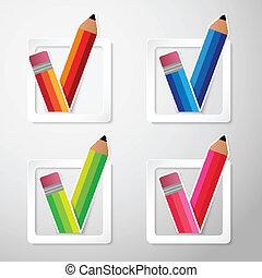 Flat Color Paper Pencils Check Box Vector