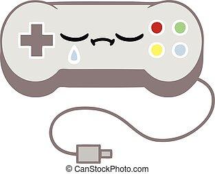 flat color retro cartoon game control