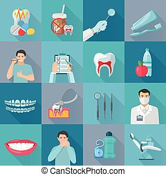 Flat Color Shadow Dental Icons
