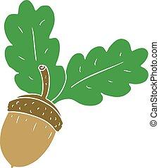 flat color style cartoon acorn