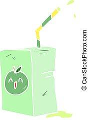 flat color style cartoon apple juice box