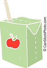 flat color style cartoon apple juice box
