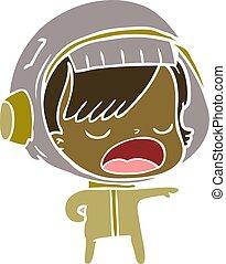 flat color style cartoon astronaut woman explaining