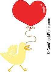 flat color style cartoon bird with heart balloon