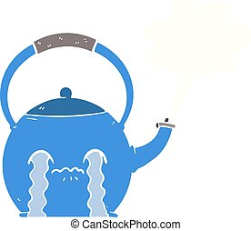 flat color style cartoon boiling kettle