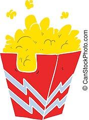 flat color style cartoon box of popcorn