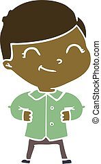 flat color style cartoon boy with hands on hips