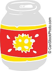 flat color style cartoon can of soda