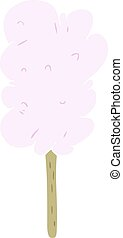 flat color style cartoon candy floss on stick