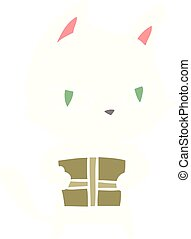 flat color style cartoon cat holding parcel