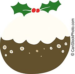 flat color style cartoon christmas pudding