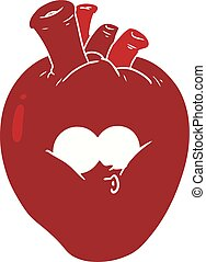 flat color style cartoon confused heart