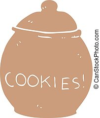 flat color style cartoon cookie jar