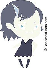 flat color style cartoon cool vampire girl