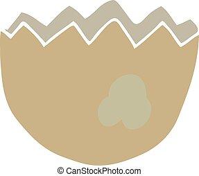 flat color style cartoon cracked eggshell