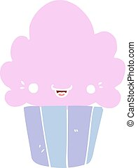 flat color style cartoon cupcake with face