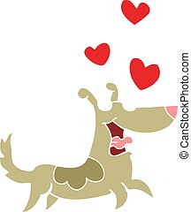 flat color style cartoon dog with love hearts