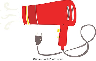 flat color style cartoon electric hairdryer