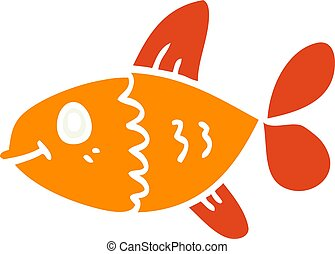 flat color style cartoon fish