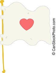 flat color style cartoon flag with love heart
