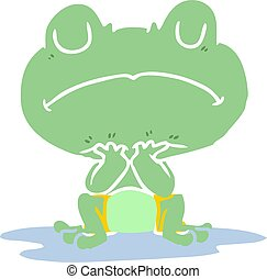 flat color style cartoon frog in puddle
