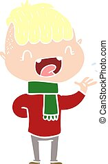flat color style cartoon happy boy laughing