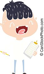 flat color style cartoon happy boy with clip board laughing