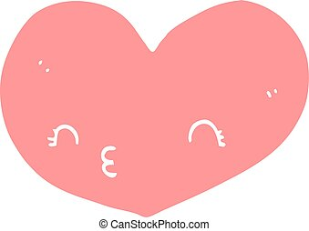 flat color style cartoon heart with face