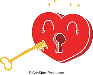 flat color style cartoon heart with key