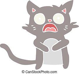 flat color style cartoon horrified cat