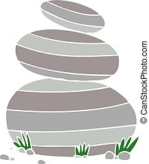 flat color style cartoon large stacked stones