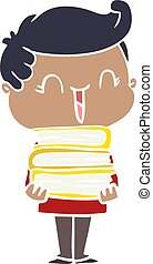 flat color style cartoon laughing boy carrying books