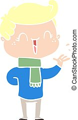 flat color style cartoon laughing boy