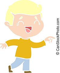 flat color style cartoon laughing man pointing