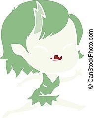 flat color style cartoon laughing vampire girl running