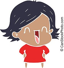 flat color style cartoon laughing woman