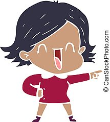 flat color style cartoon laughing woman pointing