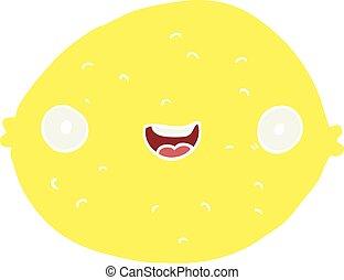 flat color style cartoon lemon