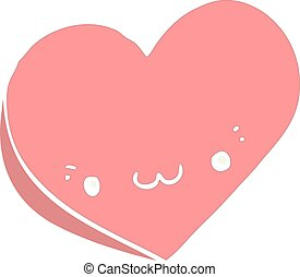 flat color style cartoon love heart with face