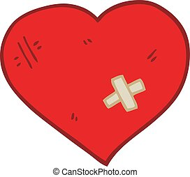 flat color style cartoon love heart with sticking plaster