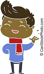 flat color style cartoon man laughing