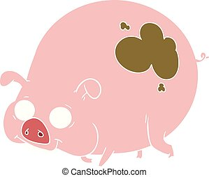 flat color style cartoon muddy pig