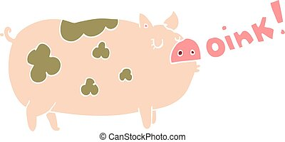 flat color style cartoon oinking pig