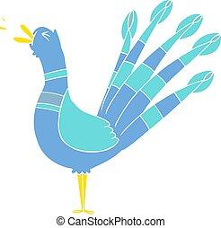 flat color style cartoon peacock