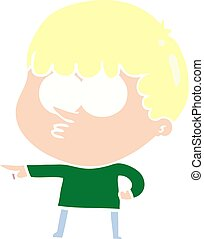 flat color style cartoon pointing boy