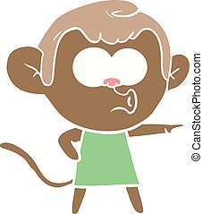 flat color style cartoon pointing monkey