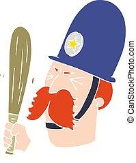 flat color style cartoon policeman waving baton