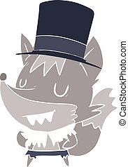 flat color style cartoon posh halloween werewolf - flat...