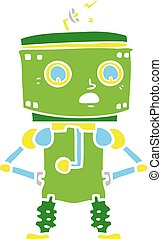 flat color style cartoon robot with hands on hips