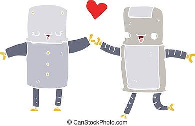 flat color style cartoon robots in love